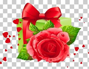 valentines day gift - green box and red rose