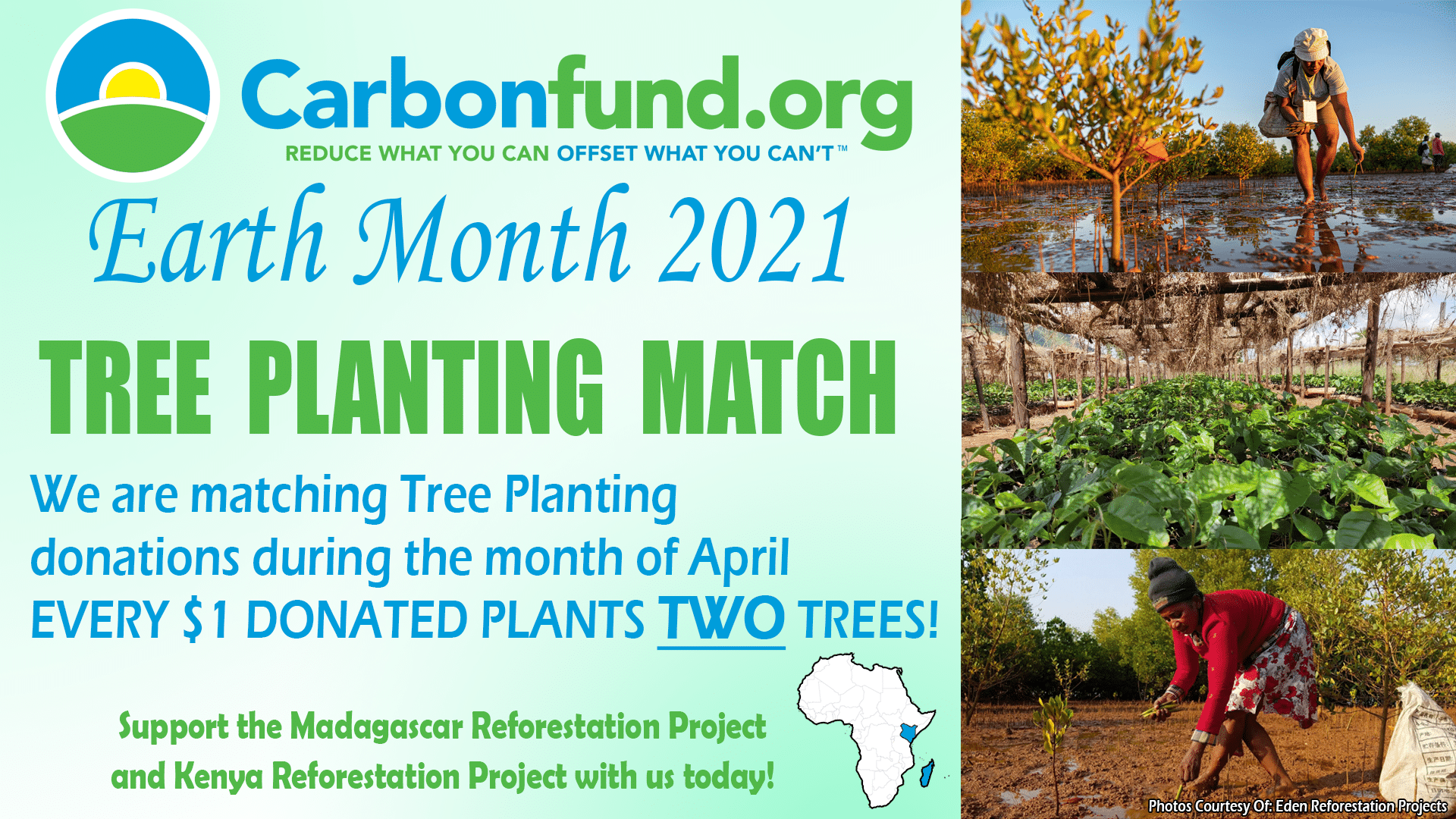 April is Earth Month. Carbonfund.org Tree Planting Match. Fight Climate Change. Plant Trees In Madagascar and Kenya.
